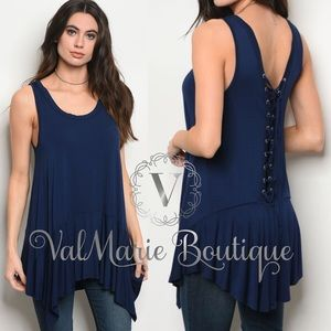 Navy Lace up back Tunic top